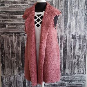 Oddy Sherpa Style hoodied Vest Tunic light Rose LG